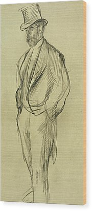 Portrait Of Ludovic Halevy Wood Print by Edgar Degas