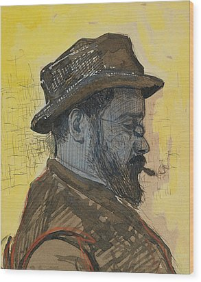 Portrait Of Maximilien Luce Wood Print by Paul Signac