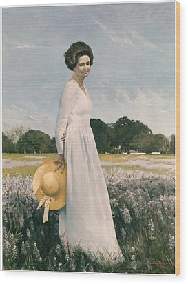 Portrait Of Mrs Lyndon B Johnson Wood Print by Mountain Dreams