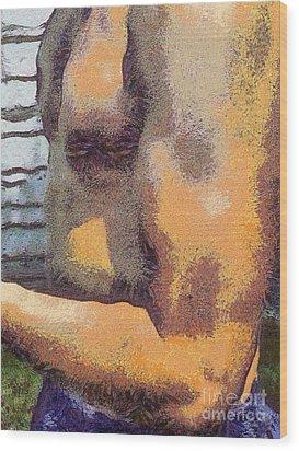 Portrait Of Muscle Man Wood Print by Odon Czintos