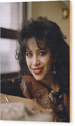 Portrait Of Ofra Haza Wood Print