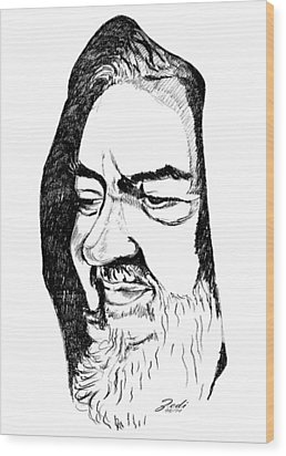 Portrait Of Padre Pio Wood Print by Ze  Di