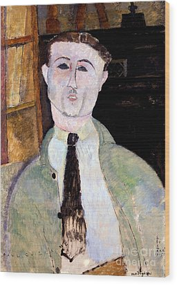 Portrait Of Paul Guillaume Wood Print by Amedeo Modigliani