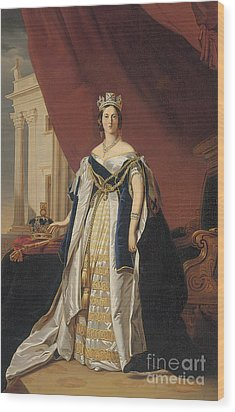 Portrait Of Queen Victoria In Coronation Robes Wood Print by Franz Xaver Winterhalter