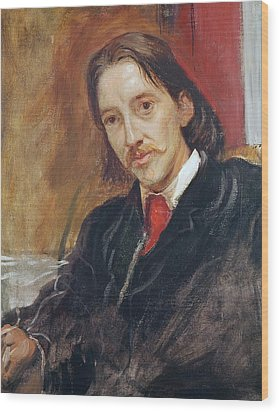 Portrait Of Robert Louis Stevenson Wood Print by Sir William Blake Richomond