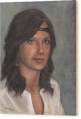 Portrait Of Taylor I Wood Print by Terri  Meyer