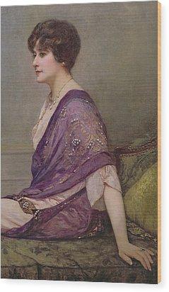 Portrait Of Th Ecourturier Madame Paquin Wood Print by Henri Gervex