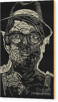 Portrait Of The Artist In A Fedora Final Stage Wood Print by Charlie Spear