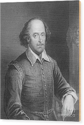 Portrait Of William Shakespeare Wood Print by English School