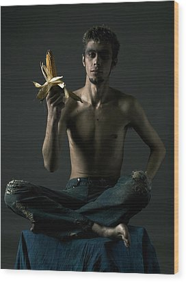 Portrait Of Young Man With Corn Cob Wood Print by Evgeniy Lankin