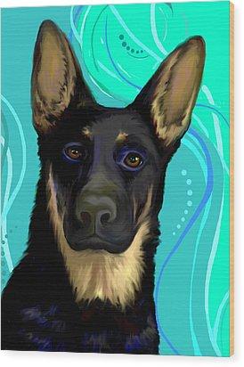 Wood Print featuring the digital art Portrait Of A German Shepherd Dog by Karon Melillo DeVega