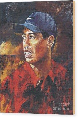 Portrait - Tiger Woods Wood Print by Christiaan Bekker