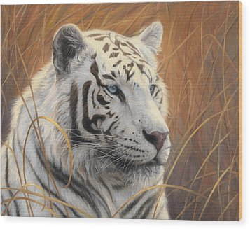Portrait White Tiger 2 Wood Print by Lucie Bilodeau