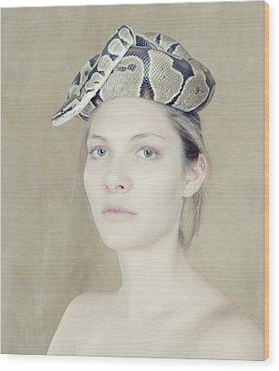 Portrait With The Snake Wood Print by Zina Zinchik