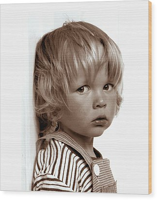 Portrait Young Boy   Wood Print by Viggo Mortensen