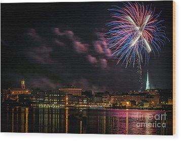 Portsmouth Nh Fireworks 2013 Wood Print by Scott Thorp