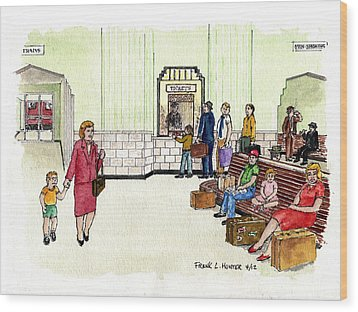 Portsmouth Ohio Train Station Ticket Window Buying A Bag Of Chips1940s Wood Print