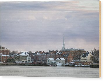 Portsmouth's Winter Skyline Wood Print by Eric Gendron