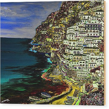 Positano At Night Wood Print