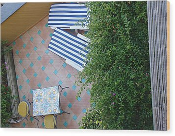 Positano - Balcony View - Lounge Chairs Wood Print by Nora Boghossian