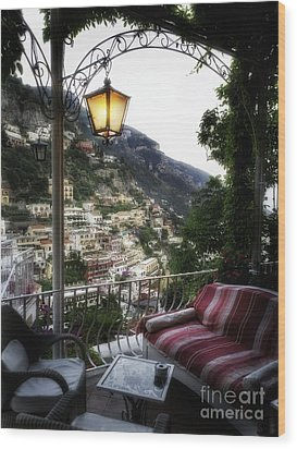 Positano Evening Wood Print by George Oze