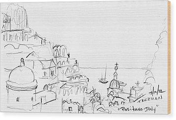Positano Italy Wood Print by Valerie Freeman