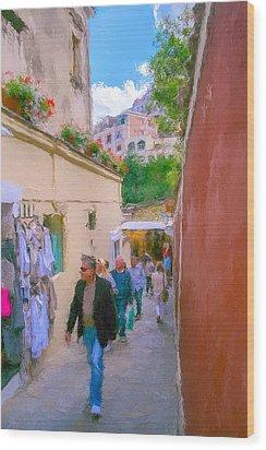 Positano Wood Print by SM Shahrokni