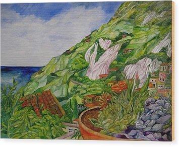Positano Terrace Wood Print