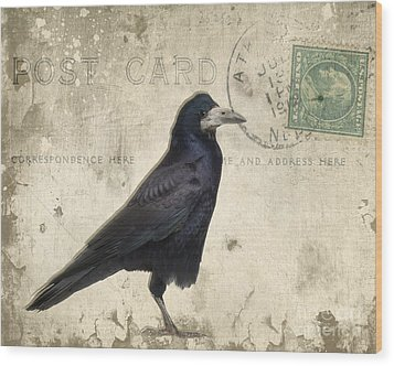 Post Card Nevermore Wood Print by Edward Fielding
