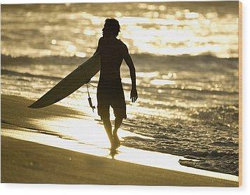 Post Surf Gold Wood Print by Sean Davey