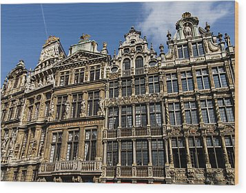 Wood Print featuring the photograph Postcard From Brussels - Grand Place Elegant Facades by Georgia Mizuleva