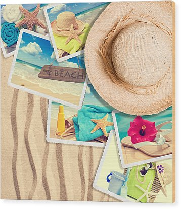 Postcards In The Sand Wood Print by Amanda Elwell