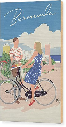 Poster Advertising Bermuda Wood Print by Adolph Treidler