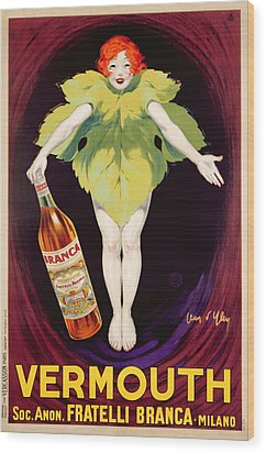 Poster Advertising Fratelli Branca Vermouth Wood Print by Jean DYlen