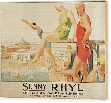 Poster Advertising Sunny Rhyl  Wood Print by Septimus Edwin Scott