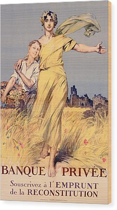 Poster Advertising The National Loan Wood Print by Rene Lelong