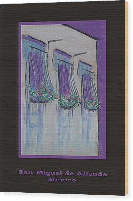Poster - Purple Balcony Wood Print by Marcia Meade