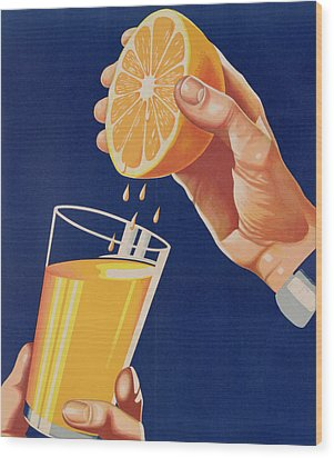 Poster With A Glass Of Orange Juice Wood Print by Israeli School