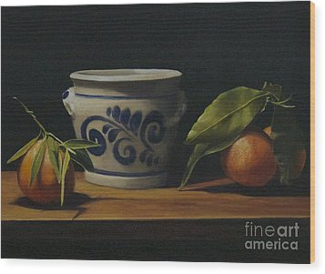 Pot And Clementines Wood Print by Margit Sampogna