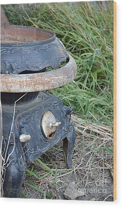 Pot Belly Stove Wood Print by Renie Rutten