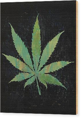 Pot Leaf Wood Print by Michael Creese
