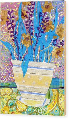 Pot Of Blue Wood Print by Diane Fine