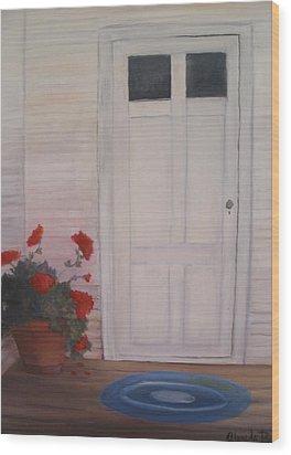 Pot Of Geraniums Wood Print by Glenda Barrett