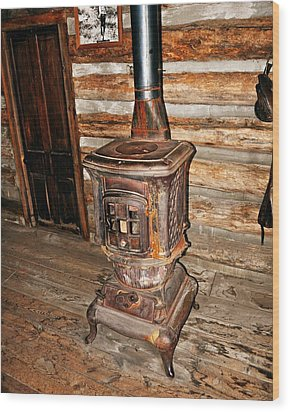 Potbelly Stove Wood Print by Marty Koch