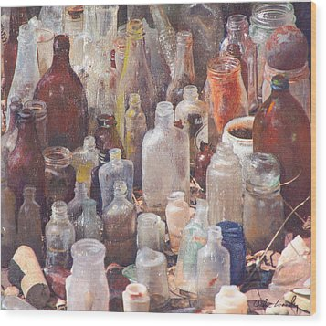 Wood Print featuring the mixed media Potions And Elixirs by Carla Woody