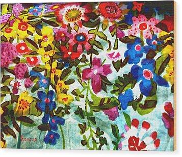 Potpourri Flowers Wood Print by Sadie Reneau