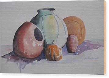 Wood Print featuring the painting Pots by John  Svenson
