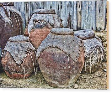 Pots Wood Print by Karen Walzer