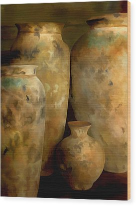 Wood Print featuring the painting Pots Of Time by Michael Pickett