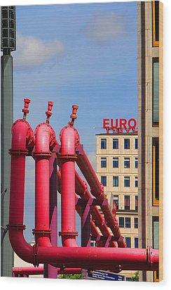 Potsdamer Platz Pink Pipes In Berlin Wood Print by Ben and Raisa Gertsberg